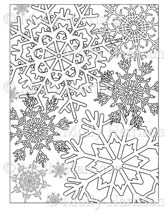 items similar to snowflake coloring page various snowflakes printable instant download adult coloring page christmas winter snow holiday on etsy - Christmas Snowflake Coloring Pages
