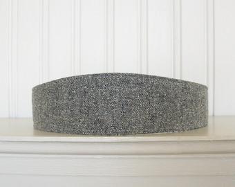 Gray and White Wool Tweed Headband - Womens Fabric Headband - Womens Headband - Wool Hair Wrap