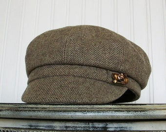 Newsboy Cap- Womens Newsboy Hat- Womens Hats - Brown and Ivory - Wool Tweed Hat - Womens Caps - M