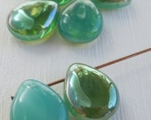 6 Czech Glass Beads Milky Aqua Celsian - 16mm Tear Drop  (G - 631)