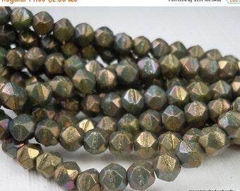 25% OFF Summer Sale 6mm English Cut Beads - Turquoise Bronze Iris - Czech Glass 25 pcs (G - 138)