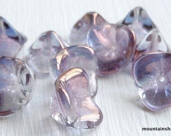 10 Czech Glass Three Petal Flower Beads Light Tanzanite Luster (G - 451)