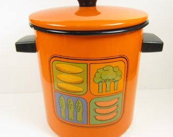 Vintage Enamelware Pot with Lid Enamel Orange Kitchen Print 60s 70s Retro Kitsch