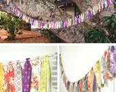 Long Scrap Fabric Tassel Bunting Garland - Over 7 feet - colorful, pink, purple, blue, yellow
