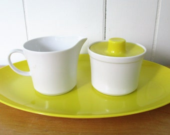 vintage yellow melmac cream and sugar with platter Texas Ware