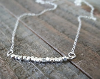 Silver Bar Necklace, Sterling Silver Necklace, Minimalist Necklace, Bar Necklace, Gift for Her,