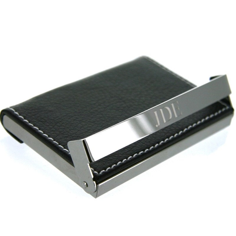 Engraved Monogram Business Card Holder Personalized Leather