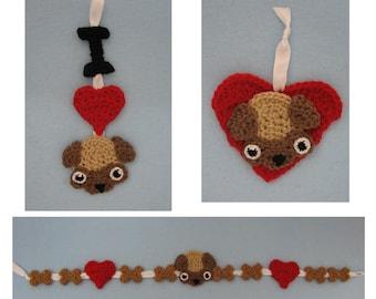 Crochet Pattern - Pug Ornaments and Garland Crochet Pattern - Dog Ornament Pattern - Christmas Pattern - Digital Download