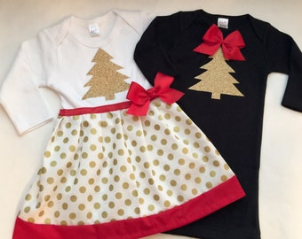 HOLIDAY sister outfits... Sibling set... New baby gown, big sister dress --Christmas wear