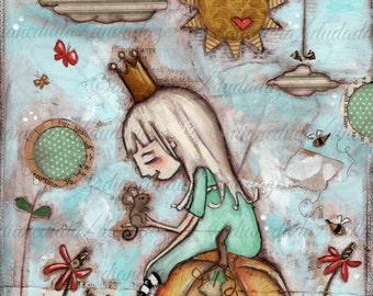 Original Folk Art Mixed Media Fairy Tale Painting - She Met Him in the Garden - Free U.S. Shipping