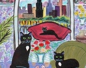 ORIGINAL PAINTING, Chicago Black Cat with Wicker Furniture and Ice Cream by the Sears Tower, D M Laughlin