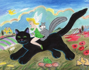 ORIGINAL PAINTING, Pixie on a Black Cat with Long White Gloves, Giving a Squirrel a Ride Through Toadstools, by DM Laughlin