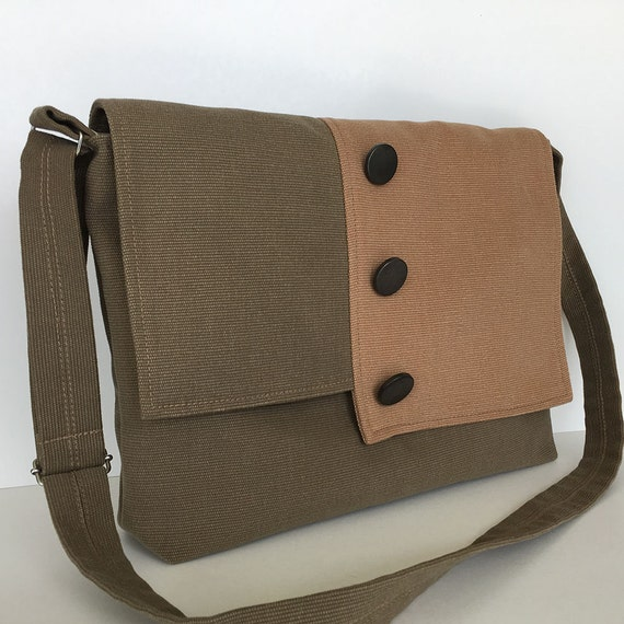 Canvas messenger bag Laptop bag Men crossbody bag Women