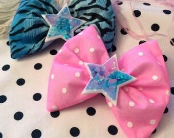 Pink Polka Dot Elephants and  Blue Tiger Print Extraordinary Cat Star Glitter Resin Hair Bows