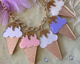 Pastel Ice Cream Cone Laser Cut Arcylic Charm Necklace