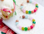 Colorful Gemstone Hoop Earrings, Beaded Hoop Earrings,Gold Hoops, Silver Hoops
