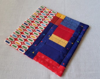 NEW Coffee Quilt, Primary colors, Red, Blue, Yellow, Quilted Patchwork Coffee Coaster or Mug Rug