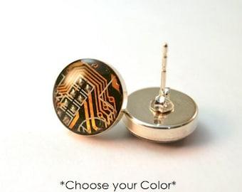 Sterling Silver Circuit Board Stud Earrings - Dainty Post Earrings - Wearable Technology - Computer Earrings