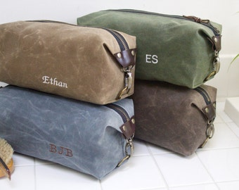 Gift for Men, Men's Dopp Kit, Toiletry Bag for men,  Expandable Travel Bag with Inside Pocket - Water Resistant Lining, Waxed Canvas