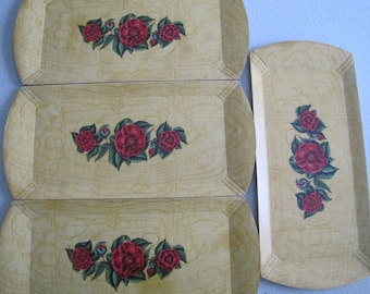 4 Lithographed Trays with Red Roses marked Socialite