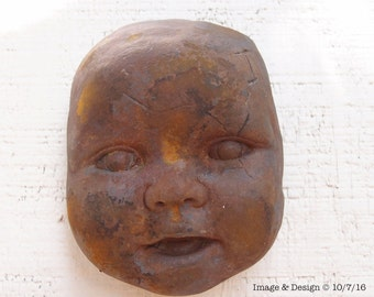 Rusty Broken Doll Head Concrete Wall Sculpture by Ugly Shyla  suitable for outdoors - ready to hang - garden - creepy doll - broken doll