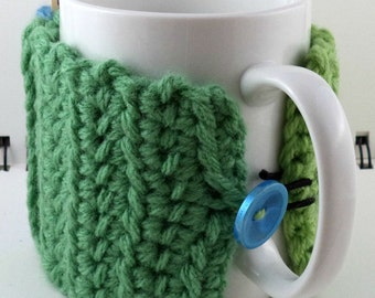 Crocheted Coffee or Ice Cream Cozy with Pocket in Greens and Light Blue with Light Blue Button (SWG-E04)