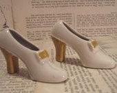 Pair of WHITE and Yellow ceramic HIGH heeled shoes