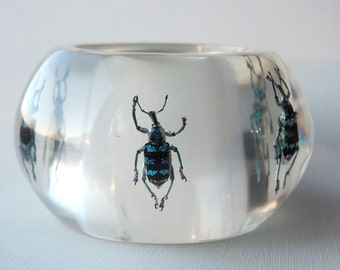Unique transparent art lucite bracelet with real insects by Kolos Designs