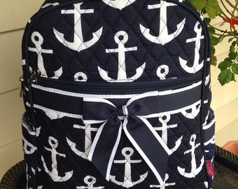 NEW Navy Anchor Quilted Backpack Diaper Bag Personalized