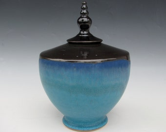 Lidded Vessel - Handmade Urn - Black and Turquoise- Ready to Ship