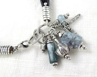 Silver and Gemstone Charm Bracelet in Blues