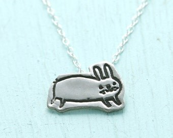 ON SALE BUNNY necklace,  illustrated by Gemma Correll, eco-friendly silver. Handcrafted by Chocolate and Steel