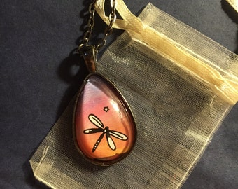 Sunset Dragonfly Tear Drop pendant