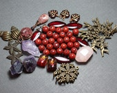 Pink Red Beads Assortment Variety Mixed Lot Destash Metal Gemstone Glass Jewelry Making Warm Tone Charms Purple Pink Beads