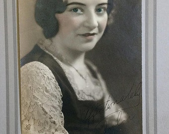 vintage, hand tinted photo,  Pretty girl Julia inscribed