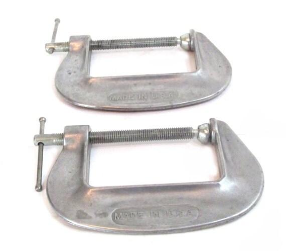 Aluminum adjustable c clamps no old vintage tool tools