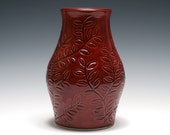Red Vase with Leafy Vine Carving - Rhubarb Red Glaze