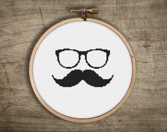 modern cross stitch pattern small ++ mustache sunglass face retro ++ pdf INsTAnT DOwNLoAD ++ diy hipster ++ handmade design