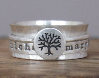 Family Tree Spinner Ring Personalized Ring Sterling Silver Jewelry Hand Stamped Ring