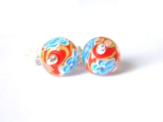 Poppy Sakura Small Earrings - Lampwork Glass and Sterling Silver