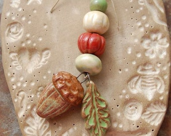 Earthy Acorn / Ceramic Acorn and Leaf Charm and Bead Set