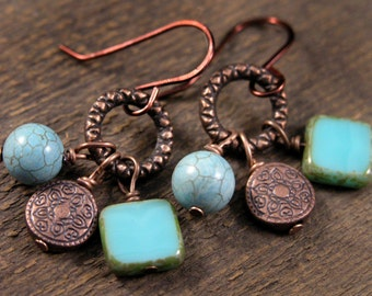 Genuine turquoise stone, czech glass and antique copper handmade earrings