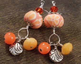 Orange polymer clay flower beads, jade stone, swarovski crystal glass and silver charm handmade earrings