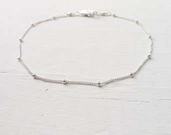 Sterling Silver Anklet or Bracelet Beaded Wish Style Dainty Boho Jewelry Summer Trends Custom Size