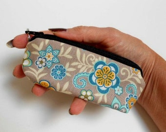 Gray Floral Serenata Mini Key Ring Zipper Pouch ECO Friendly Padded Lip Balm Case