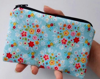 Little Padded Zipper Pouch Coin Purse ECO Friendly NEW Blue Bliss