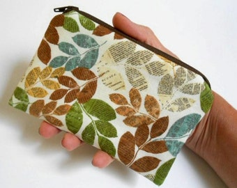 SALE Little Zipper Pouch Coin Purse ECO Friendly Padded Woodland Leaves
