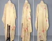 1930s kimono / furisode / silk robe / PEONY BLOSSOM vintage kimono