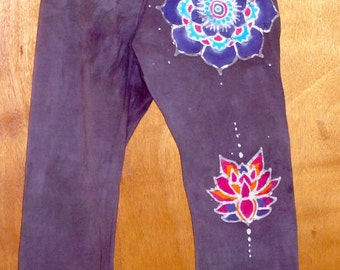 Women's Batik Yoga Pants with a Mandala on the top, middle and bottom of the left leg