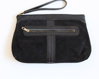 Vintage Black Suede & Leather Clutch